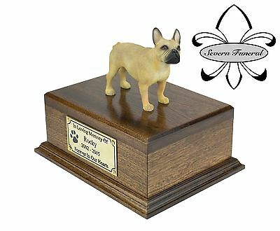 Luxury Solid Wood Mahogany Urn, pet, dog, ashes, memorial, French Bulldog
