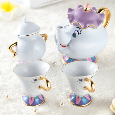 New Beauty The Beast Teapot Cartoon Mug Mrs Potts Chip Tea Pot Cup Sugar Pot set