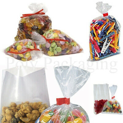 "200 x Clear Polythene FOOD BAGS 6x8""(150x200mm)(100 Gauge)Poly Bag"