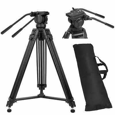 72 Inch Professional Heavy Duty Camera Camcorder Tripod with Fluid Pan Head Kit