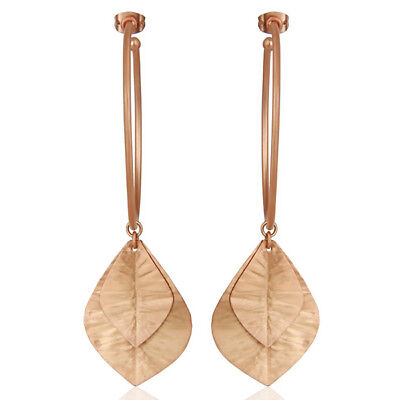 18k Rose Gold Plated Leaf Design Traditional Dangle Brass Fashion Earrings