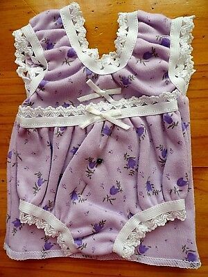 Baby Born Dolls Singlet Set In Mauve With Purple Flowers & White Elastic..