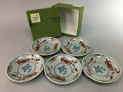 Japanese Arita ware Porcelain Plate Sushi Sweet 5pc Vtg Blue Gray Box PX127