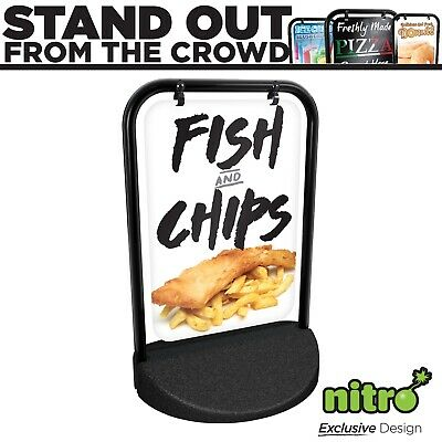 Fish and Chips Swinging Pavement Sign Outdoor Shop Swinger Takeaway Eat In
