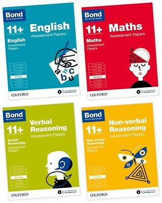 Bond 11+ Plus 8-9 Year Assessment Papers 4 Books English Maths Verbal Non Verbal