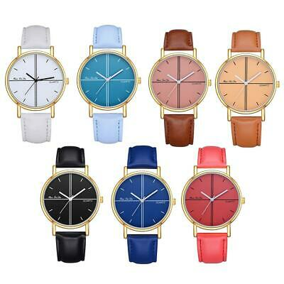 Women Girl Analog Quartz Ladies Wrist Watches Fashion Leather Strap Black Colorf