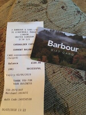 Barbour Gift Card - £100 - Valid To 2 June 2019