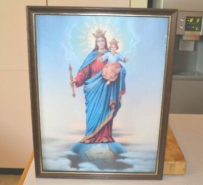 Vintage Large Glass Framed Icon Mother Mary Baby Jesus on Earth World Australia