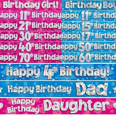 9ft FOIL  Happy BIRTHDAY BANNER Pink Blue Party Decoration ALL Ages Banners