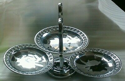Vintage Folding Chrome Plated Cake Stand 3 Tiers Carry Handle
