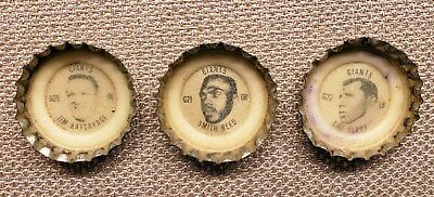 1960's Coca-Cola Football Giants Bottle Caps - 3 caps G20, G21, G22