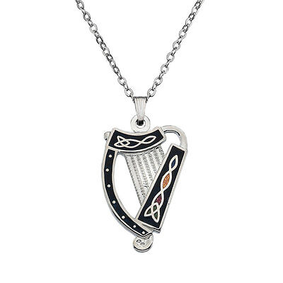Celtic Lands Silver Tone Enamel Celtic Irish Harp Pendant Necklace in Gift Box
