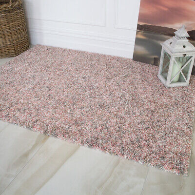 Cosy Blush Pink Shaggy Rugs Soft Non Shed Mottled Thick Coral Living Room Rug UK