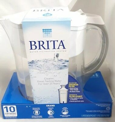 Brita  Grand Pitcher Water Filtration System with 1 Advanced  Filter 10 Cup New