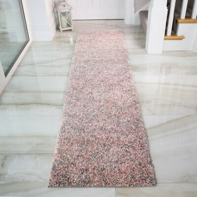 Cosy Blush Pink Shaggy Rugs Soft Non Shed Mottled Long Narrow Hallway Runner Mat