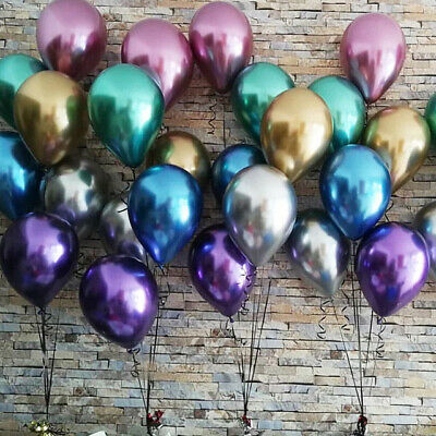 10pcs Glossy Metal Pearl Latex Balloons Thick Chrome Metallic Colors Party Decor