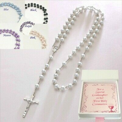 Pearl Rosary Beads, Gift for First Communion, Baptism, Confirmation, Necklace