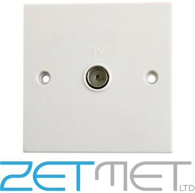 1 Gang Coaxial Aerial Wall Socket White Plastic TV Output Coax White Face Plate