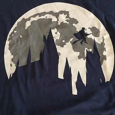 HARRY POTTER Hogwarts Flying Full Moon Graphic Shirt 3X Or 2X Blue Cotton