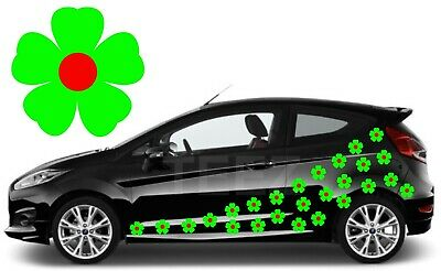 24 Green & Red Flower Car Decals, Car Graphics,Flower Car Stickers
