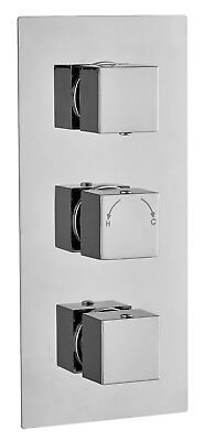 Square Concealed Thermostatic Shower Mixer triple Valve 2 Way Outlet chrome