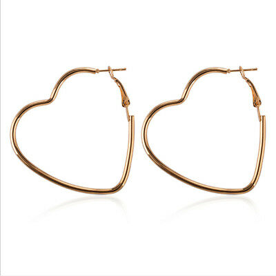 Big Heart Exaggerated Hollow Out Minimal Novelty Punk Style Earring LH