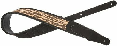 Stagg Black Padded Faux Suede Guitar Strap, Wooden Tiger Pattern