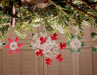Handmade Fused Glass Christmas Ornament Snowflake Suncatcher Clear Red Green