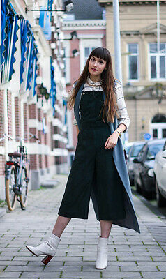 98421148bed Topshop Premium Suede Forest Green Culotte Jumpsuit Real Leather UK 10 14  BNWT