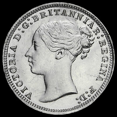 1875 Queen Victoria Young Head Silver Threepence
