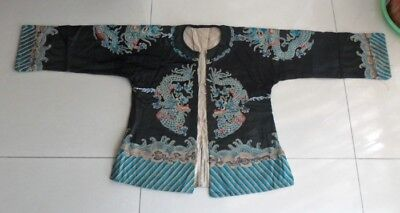 Chinese Old hand embroidery Dragon cloth jacket Costume