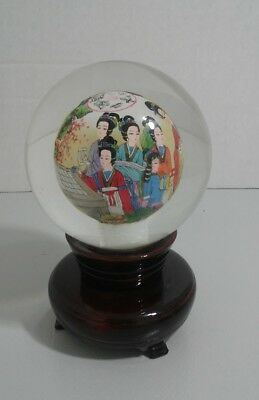 Signed inside glass painted sphere or orb oriental ladies...wood stand included