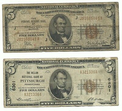 Lot - 2 $5 1929 NATIONAL BANK NOTES circulated Pittsburgh, PA. & Kansas City, MO