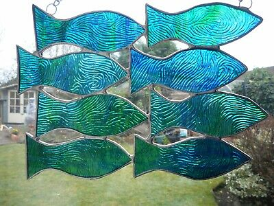 Stained Glass Shoal of Fish Suncatcher or Wall Mount.