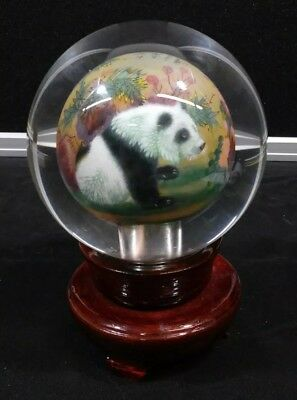 Vintage Asian Signed Inside Painted Sphere On Wood Stand