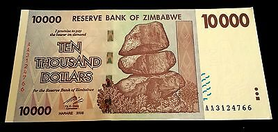 ! Zimbabwe. $10,000 banknote. 2008. UNCIRCULATED / MINT. (Super rare $10000) !