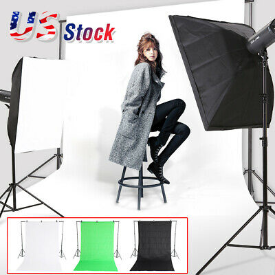 Photography Black/Green/White Backdrop Photo Background Studio Screen Stand Kit