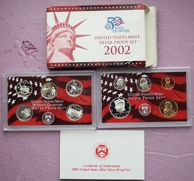 2002 United States US Mint 10 Coin Silver Proof Set with Box and COA 50 State