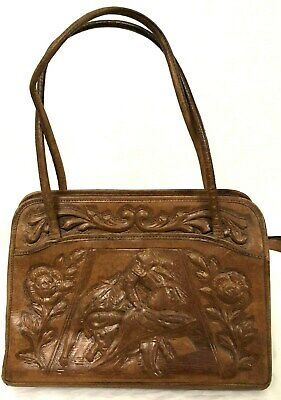 Vintage MONT-ABUR Leather Hand Tooled Engraved Bag - Aztec Bull Fighting Floral