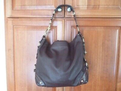 f9c4d4376b5cd4 Coach Carly Large Dark Chocolate Brown Leather Hobo Shoulder Bag Purse 10616