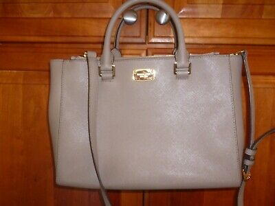 bcd3f7c43fe8 Michael Kors Kellen Medium Convertible Satchel In Dune Taupe Saffiano  Leather