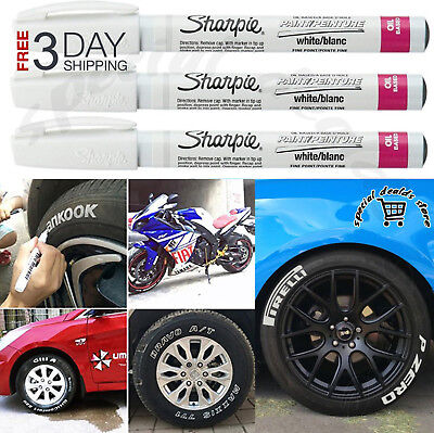 White Tire Ink Permanent Marker For Lettering Paint Rubber Pen Waterproof 3 Pcs