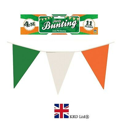 7m ST PATRICK`S Day NYLON FLAG BUNTING Ireland Irish Party Decoration Rugby UK