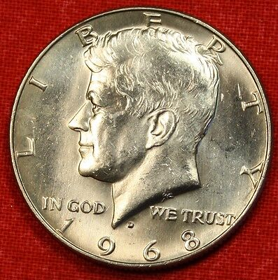 1968-D Kennedy Half Dollar Bu 40% Silver Coin Check Out Store Kh87
