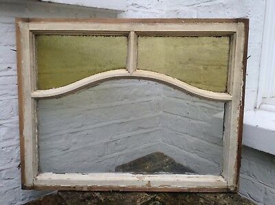 Reclaimed Art Deco Stained Glass Wooden Panel Window