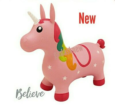 Kids Inflatable Unicorn Jump Bounce Space Hopper Outdoor Animal Ride On Toy Pink