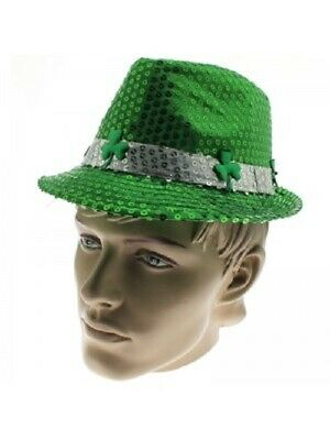 Green Sequin Shamrock Trilby Fedora Rugby Adults Kids St Patricks Day Hat