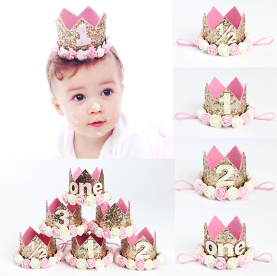 1st Birthday Hat Flower Princess Crown Decor Hair Girl Baby Party Accessories