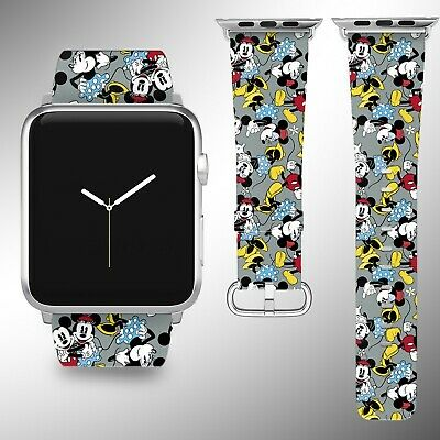 Mickey Minnie Mouse Apple Watch Band 38 40 42 44 mm Fabric Leather Strap 11