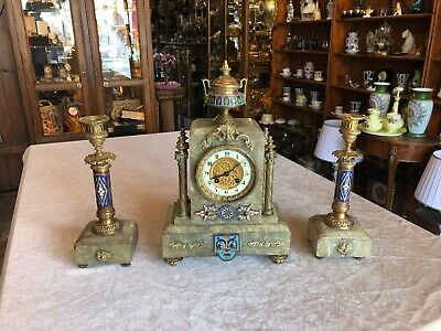 Antique French 19th.c Mantel ENAMEL Clock and Pair of Candelabra Green Onyx